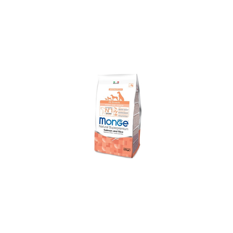 Monge Natural Superpremium All Breeds Crocchette Puppy & Junior Salmone e Riso