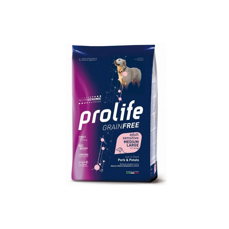 Prolife Sensitive Grain Free Adult Medium Large Maiale e Patate 10 Kg